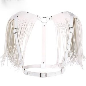White Handmade Faux Leather Wing Harness